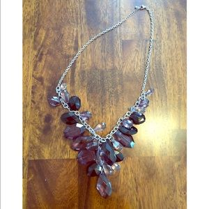 Black, Purple, and Clear Gem Fashion Necklace